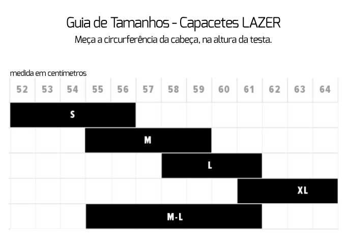 Guia de Medidas Capacetes Lazer