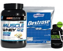 Kit Muscle Whey Proto NO2 (900g) + Dextrose Natural (1kg) - Neo Nutri (Brinde Creatina)
