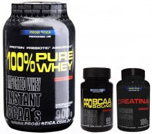 Kit 100% Pure Whey (900g) + Pro BCAA Bound (60caps) + Creatina (100g) - Probi�tica