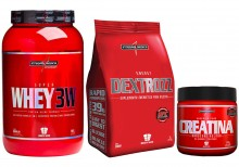 Kit Super Whey 3W (907g) + Dextrose (1kg) + Creatina (100g) - Integral M�dica