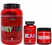 Kit Super Whey 100% Pure (900g) + BCAA Top (120caps) + Creatina (100g) - Integral M�dica (15% OFF)