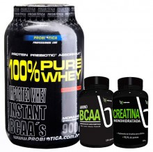 Kit 100% Pure Whey (900g) + BCAA BP (120caps) + Creatina BP (100g) - 20% OFF