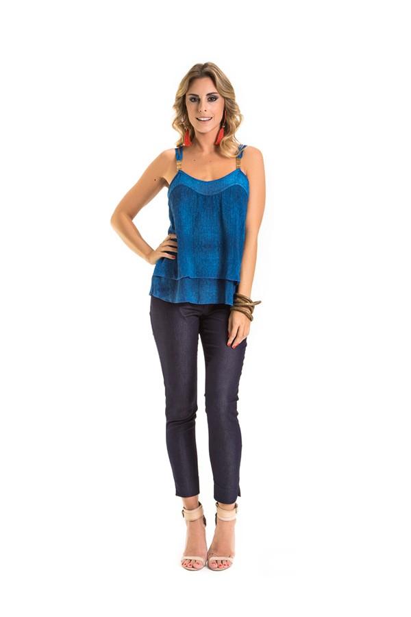 Blusa Feminina Rosa Tatuada Sublimada Casual 4356 Azul