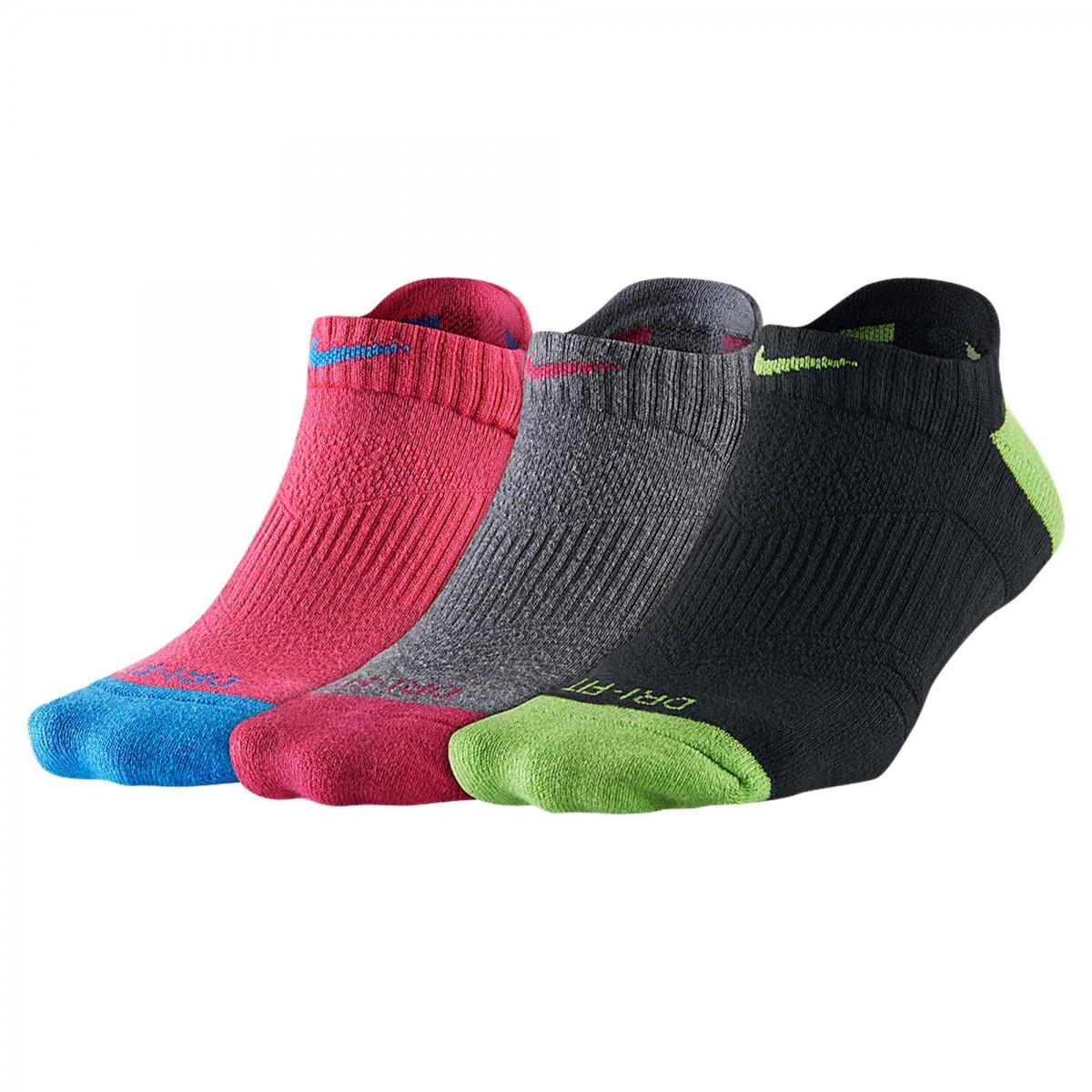 Kit Meias Nike Dri - Fit Cushion 3PPK Sx4841 - 951 Preto / cinza / rosa