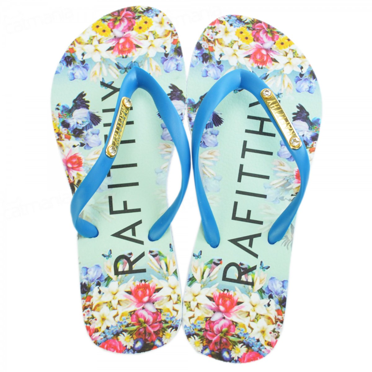 Chinelo Rafitthy Placa Blue Flowers Azul 34