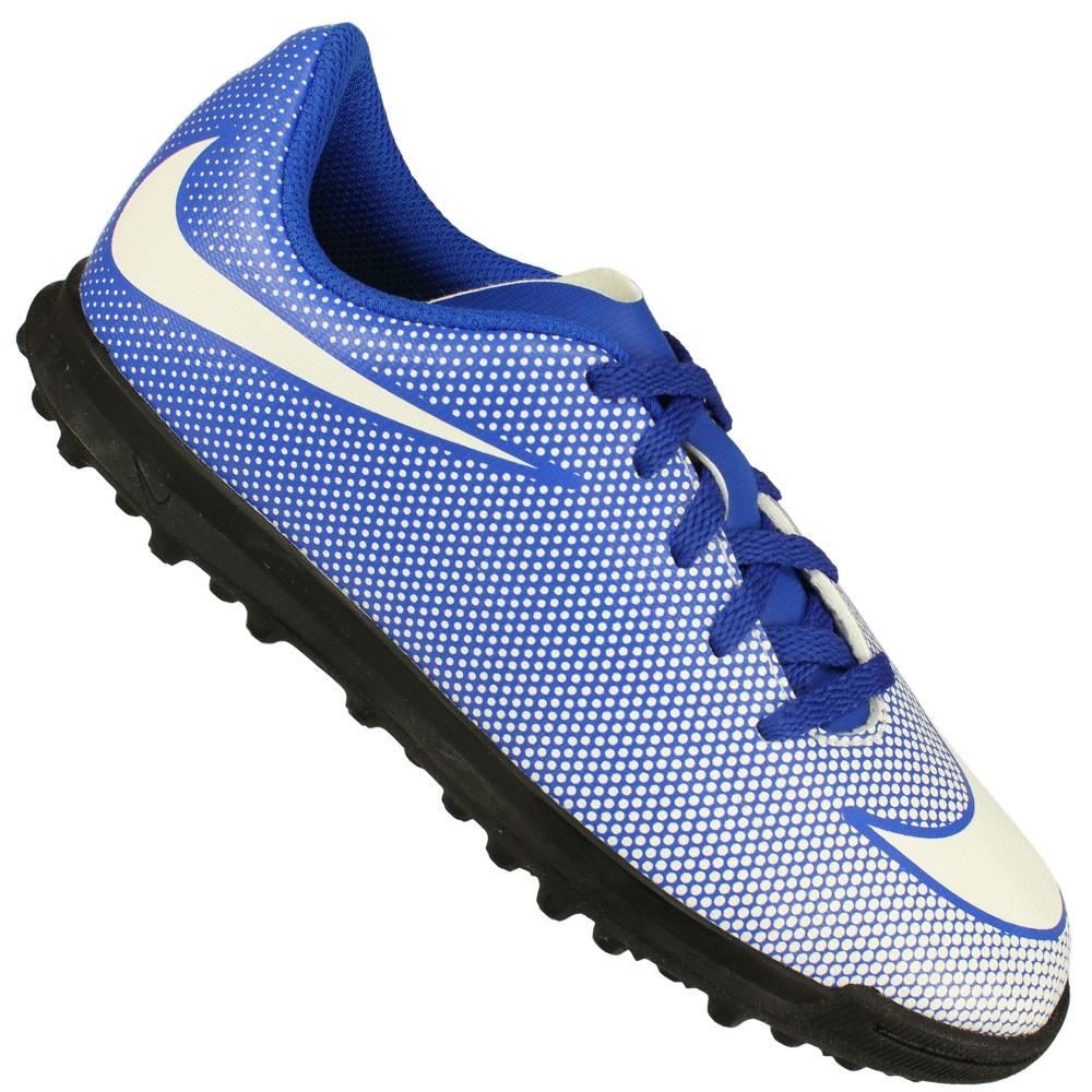 Chuteira Society Nike Bravata II Tf Juvenil Azul claro