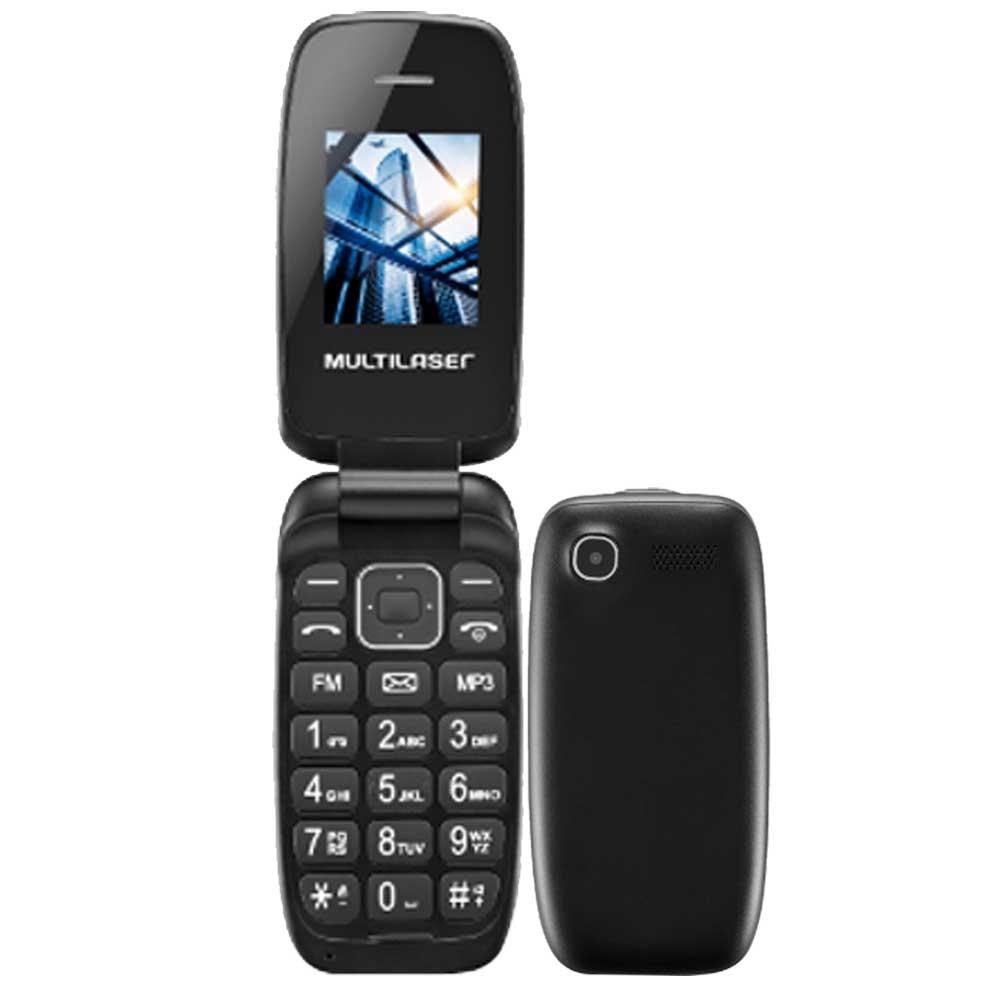 Celular Multilaser Flip UP P9022 Preto / Cinza, Dual Chip, Tela 1.8 ´, Câm. VGA, MP3, FM, Bluetooth