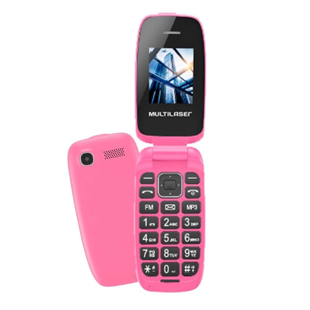 Celular Multilaser Flip UP P9023 Rosa, Dual Chip, Tela 1.8 ´, Câm VGA, MP3, FM, Bluetooth