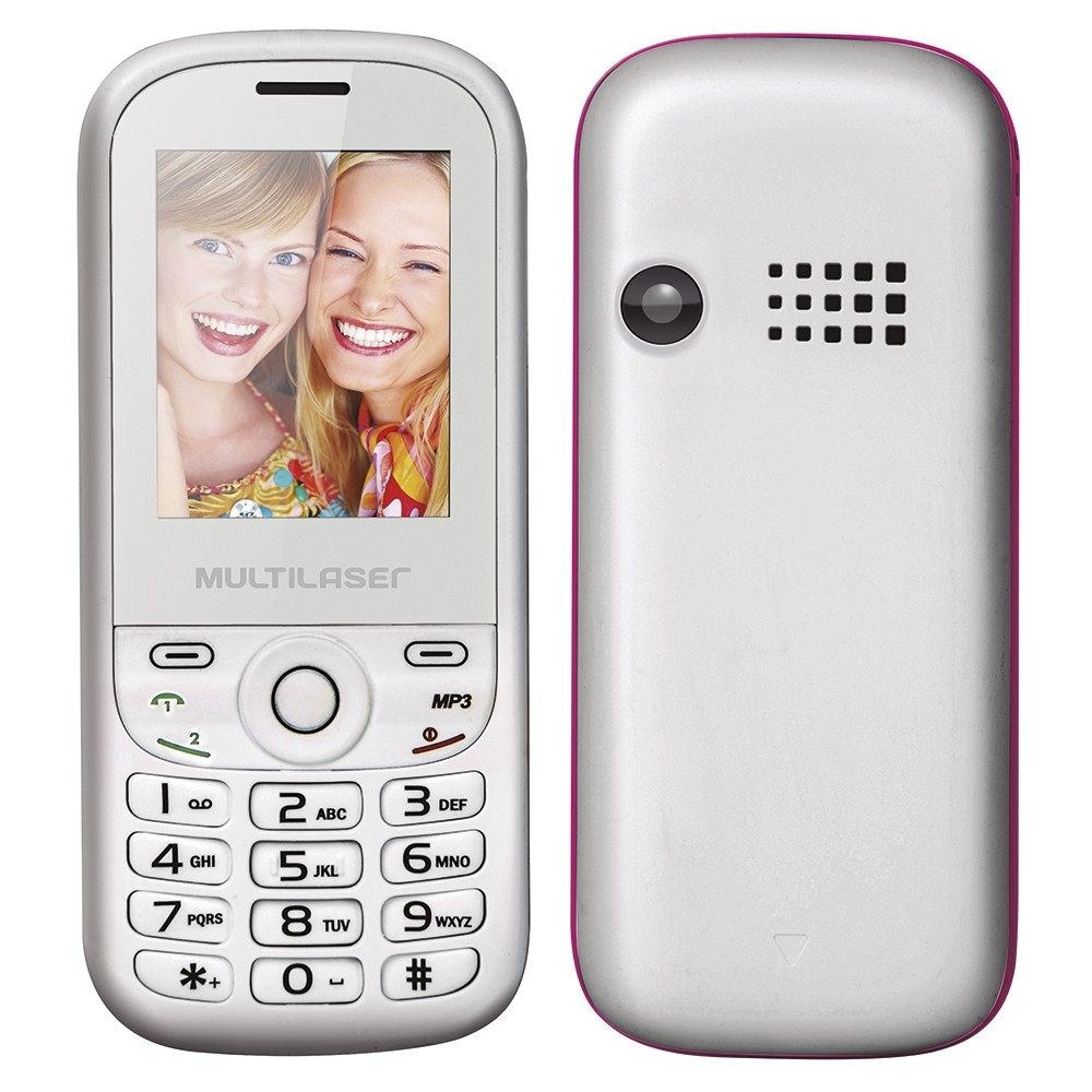 Celular Multilaser Up P3293 Branco / Rosa, Dual Chip, Tela 1.8 ´, Câm. VGA, MP3 / MP4, Bluetooth
