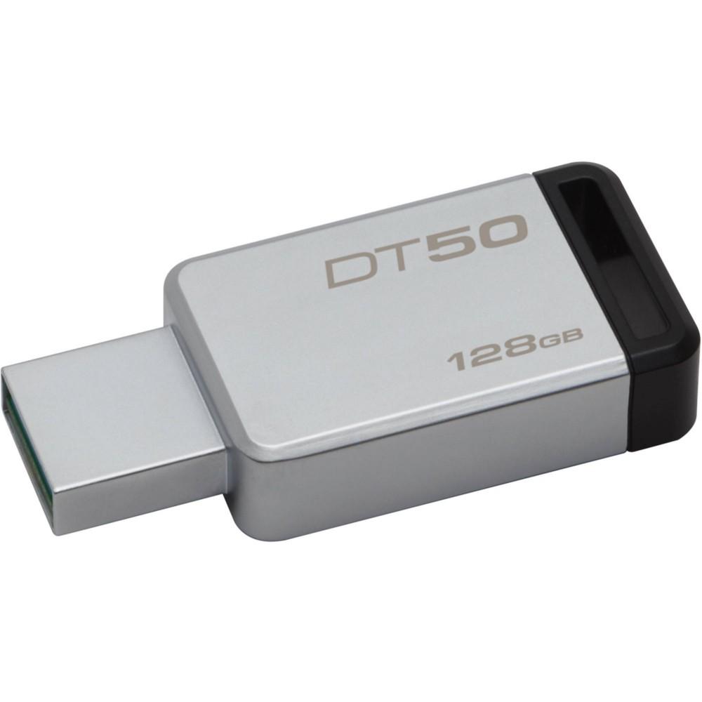 Pen Drive Kingston 128GB Datatraveler 50 USB 3.1 Prata e Preto DT50 / 128GB