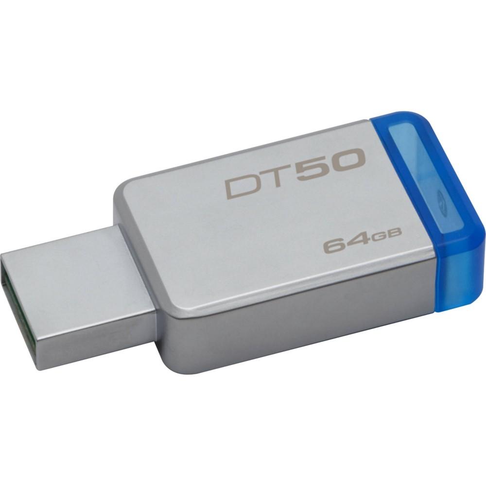Pen Drive Kingston 64GB Datatraveler 50 USB 3.1 Prata e Azul DT50 / 64GB