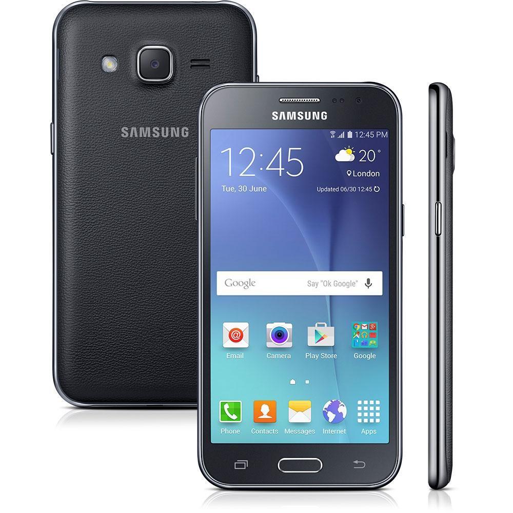 Smartphone Samsung Galaxy J2 Duos J200B, Preto, 8GB, Tela 4.7 ´ ´, 4G, Android 5.1, 5MP, TV Digital