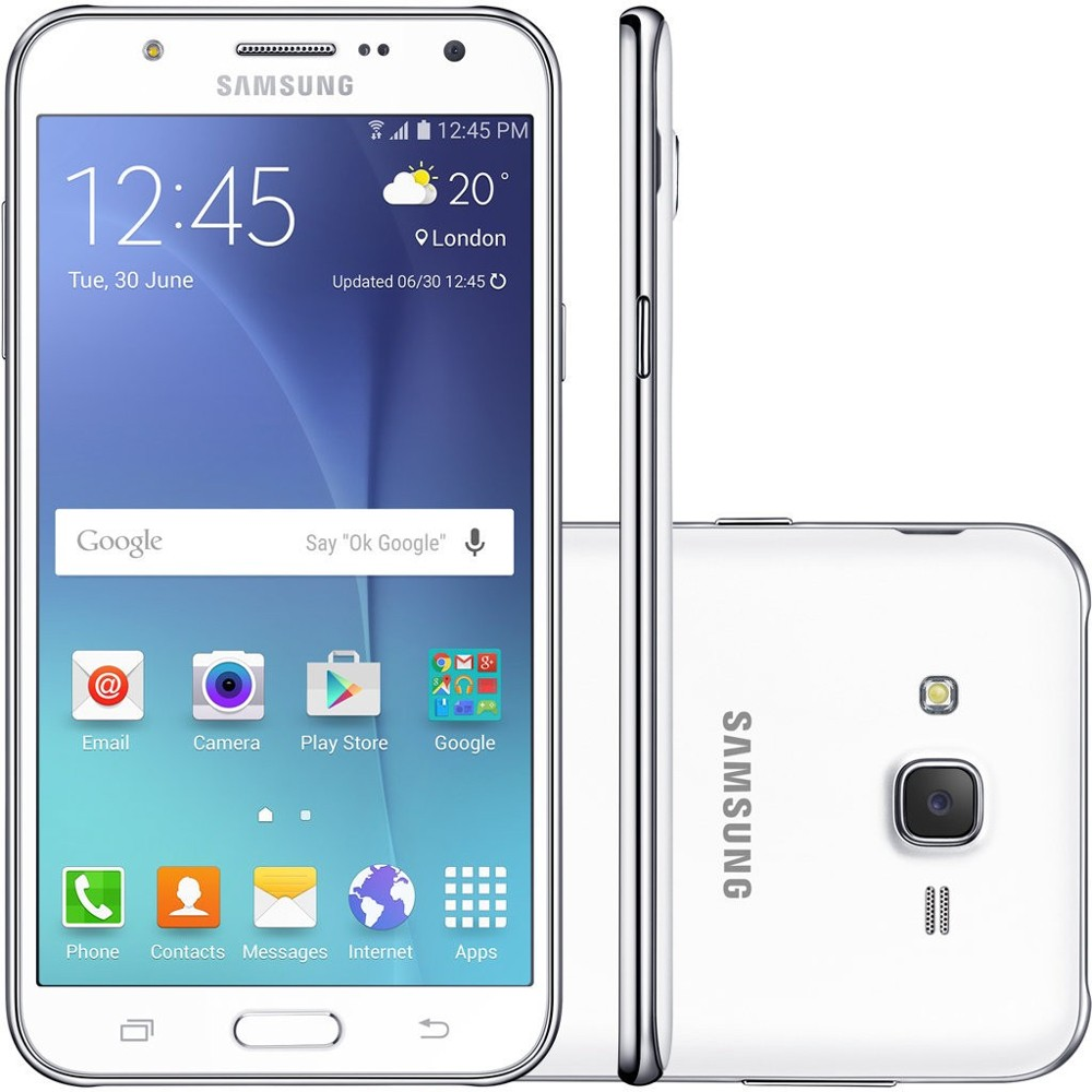 Smartphone Samsung Galaxy J7 Duos J700M, Branco, Tela 5.5 ´ ´, 4G + WiFi, Android 5.0, 13MP, 16GB