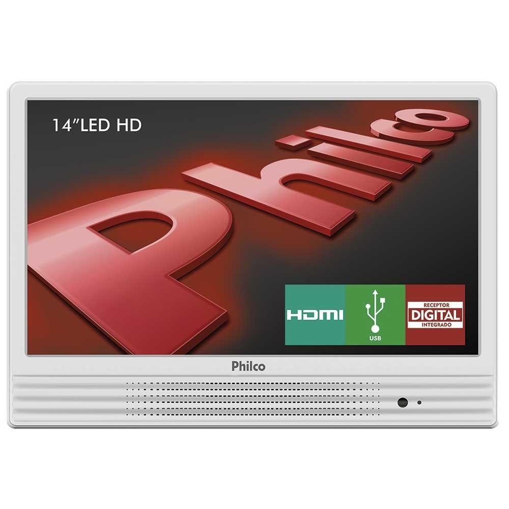 TV LED Philco 14 ´ PH14E10DB, HDMI, USB - Branco
