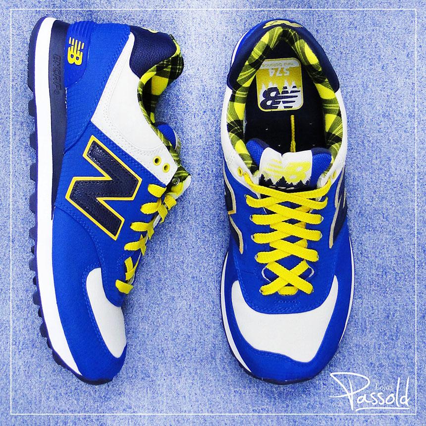 new balance 574 azul e amarelo