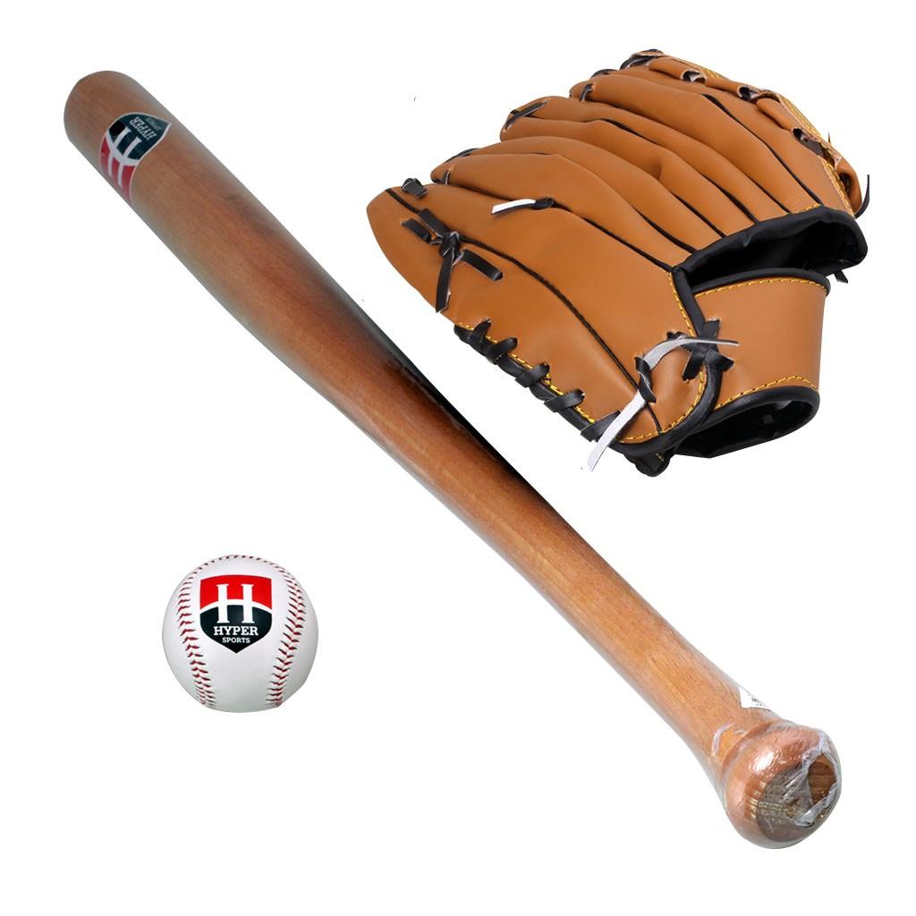 Kit Taco De Baseball Madeira 1 Bola 1 Luva Marrom Un