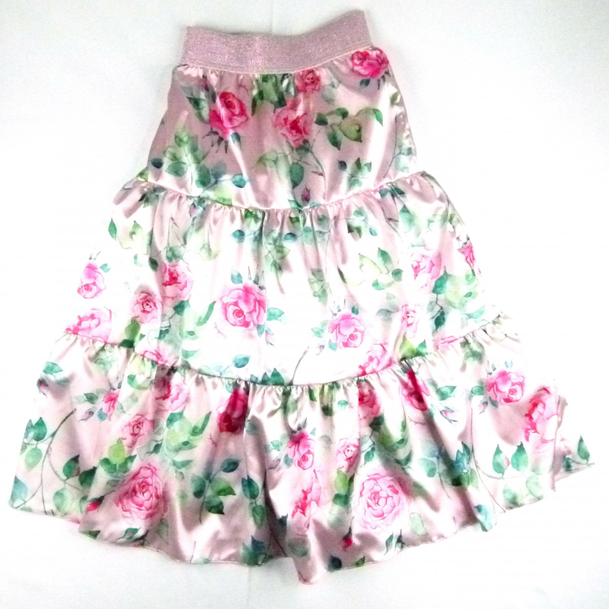 Saia Longa Cetim Floral Pituchinhu ´ s - 033228 Rosa
