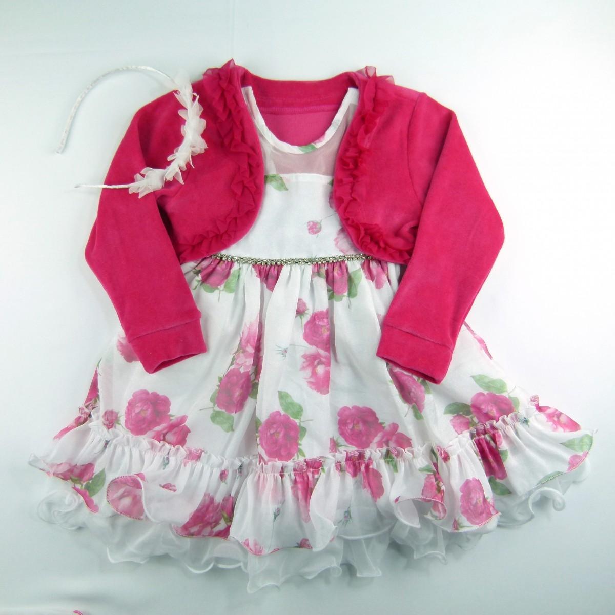 Vestido Estampado com Strass e Bolero Cattai - 038977 Pink
