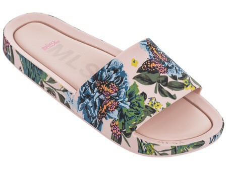 Chinelo Melissa Feminino Beach Slide III   Floral Rosa