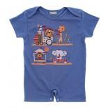 Macac�o Curto para Beb� Menino Estampado Zoo 9725