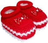 Pantufa de Bebê com Laço Vermelho 2798