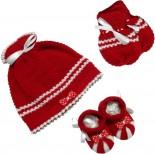 Kit para Bebê de Touca, Luva e Pantufa de Lã 2452