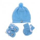 Touca de Bebê, Luva e Sapatinho de Lã Kit Fusquinha Azul - Cód 7537