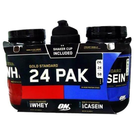 Protein Shaker Optimum Nutrition: Whey Protein 943g + Casein 909g + Coqueteleira Shaker