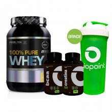 Kit 100% Pure Whey (900g) + BCAA BP (120caps) + Creatina BP (100g) + BRINDE