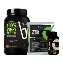Kit 100% Whey (900g) + Waxy Maize (1kg) + BCAA (120caps) - BP Suplementos