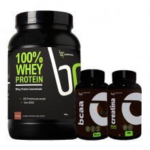 Kit 100% Whey Protein (900g) + BCAA (120caps) + Creatina (100g) - BP Suplementos