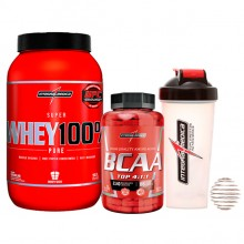 Kit Super Whey 100% (900g) + BCAA TOP 4:1:1 (240caps) + Brinde Coqueteleira - Integralmédica