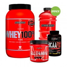 Kit Super Whey 100% (907g) + BCAA Fix (120tabs) + Glutamina (300g) - Integralmédica + BRINDE