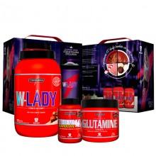 Kit Caixa W-Lady (900g) + Glutamina (300g) + Therma Pro (120caps) + Brinde Coqueteleira W-Lady - Integralm�dica