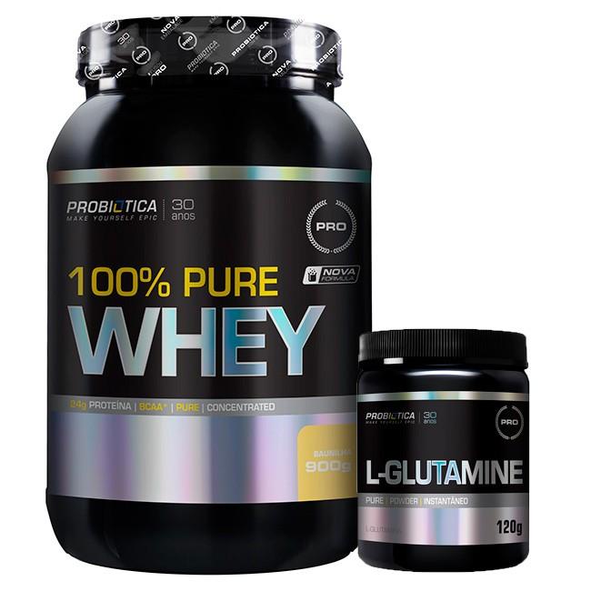 Kit 100% Pure Whey ( 900g ) + L - Glutamina ( 120g ) - Probiótica Morango