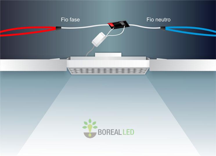 instalar luminaria led embutir forro modular