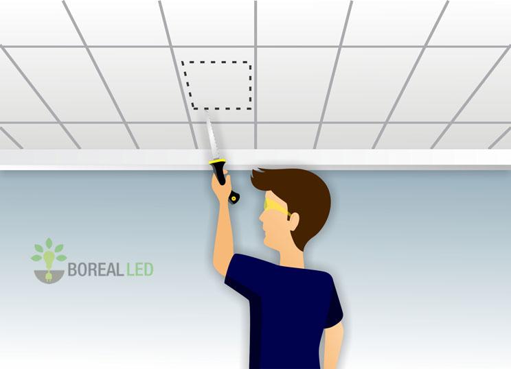 recortando o teto modular para instalar luminaria embutir led