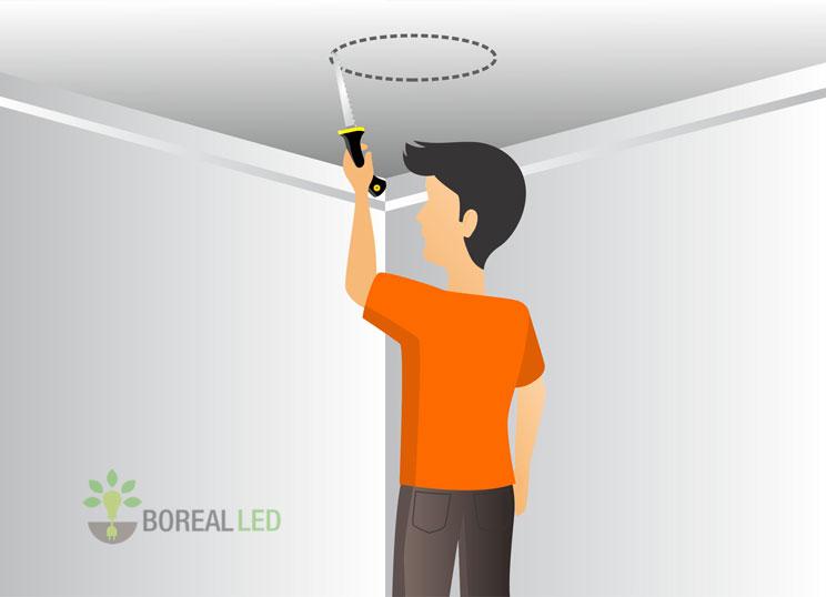 recortando o gesso para instalar a luminaria led