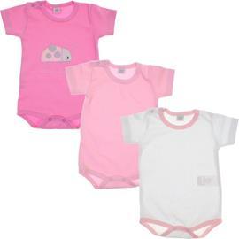 Body de Bebê Kit de 3 Bodys Manga Curta Joaninha 5938