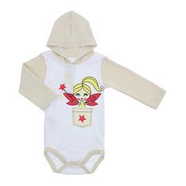 Body Bebê Manga Longa com Capuz Lapuko Estampado