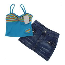 Conjunto de Saia Jeans e Blusinha Feminino Summer - 9790
