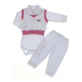 Conjunto Pag�o Rosa com Branco Beb� Menina 9922