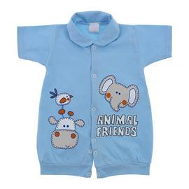 Macac�o de Beb� Curto Animal Friends Azul 9799