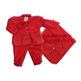 Saída Maternidade Sonho Magico Flores Vermelha