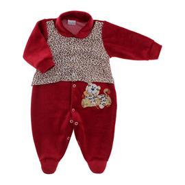 Macac�o de Beb� em Plush Oncinha Vermelho 9061
