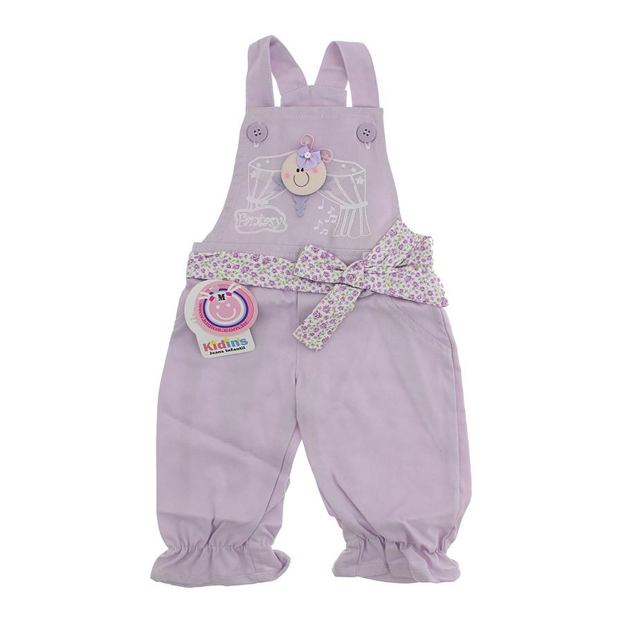 Jardineira para beb menina sarja lilas 1201 cegonha for Jardineira bebe 1 ano