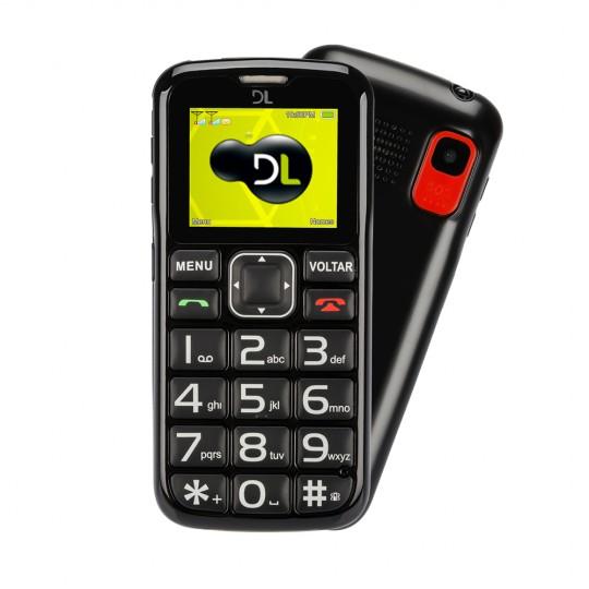 Celular DL Botão SOS Dual Chip Câmera VGA e Rádio FM YC-110 Preto