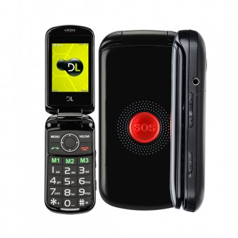 Celular Flip DL Botão SOS Dual Chip Câmera VGA e Rádio FM YC-130 Preto