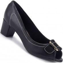 Sapato Peep Toe Beira Rio Camur�a Flex Fivela Feminina