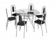 Conjunto de Mesa e Cadeiras SICILIA Preto - Brastubo